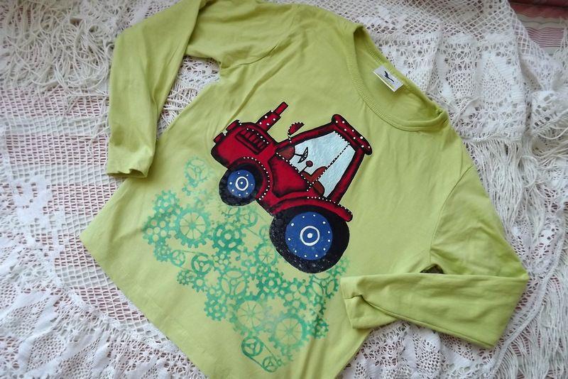 """Červený traktor dr. 128 zelené triko s dlouhým rukávem Veronika """"Tanísek"""" Kocková"""