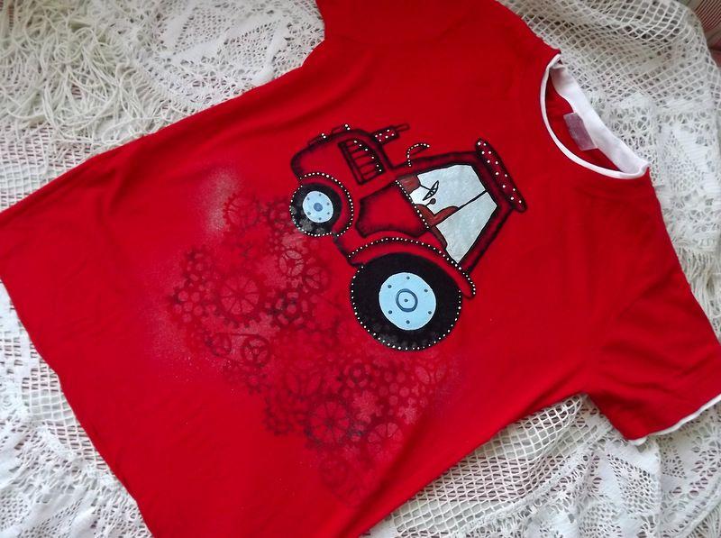 """Traktor kr. 140 červené triko s krátkým rukávem Veronika """"Tanísek"""" Kocková"""