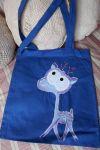 Modrá plátěná taška s jelenem