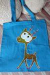 ekologická tyrkysová taška s malovaným jelenem