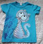Fialový kocour na tyrkysovém tričku velikost 110