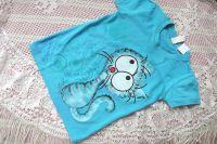 modrý kocour na tyrkysovém tričku velikost 110, ručně malované
