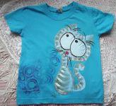 ručně malované tričko s modrou kočkou. veliksot 122