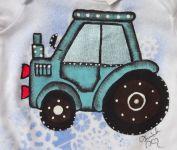 Modrý traktor dr 68 - ručně malované body s dlouhým rukávem