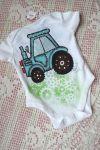 Modrý traktor kr 68 - ručně malované body s krátkým rukávem