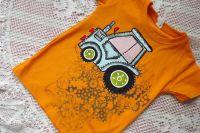 Tričko s ručně malovaným traktorem + ozubená kola (pozitiv)