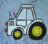 Ručně malované  Nebesky modré tričko s modrým traktorem 122 Adler