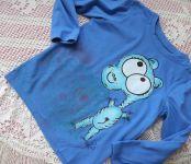 modré tričko s hrochem velikost 110,ručně malované,třpytivé