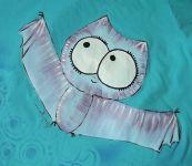 Ručně malované tričko s veselým netopýrem - upírem, velikost S