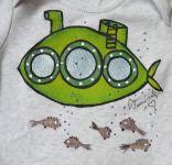 Zelená ponorka - ručně malované body velikost 74