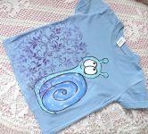 Modré tričko se šnečkem velikost 110 ručně malované