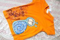 oranžové tričko se šnečkem velikost 110