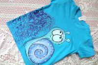 Tyrkysové tričko se šnečkem velikost 110 ručně malované