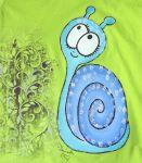 Zelené tričko se šnečkem velikost 110 ručně malované