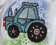 Modrý traktor kr - bílé body s krátkým rukávem, ručně malované, velikost 74