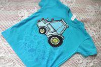 ručně malované Tyrkysové tričko s modrým traktorem 122 Adler