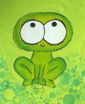 ručně malované tričko se zelenou žábou velikost 134