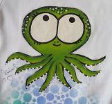 Bílé body s krátkým rukávem - ručně malované, velikost 80, zelená chobotnička.